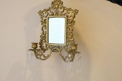 Antique Italian Wall Sconce(12''x9'') w/ Mirror and Hanging Crystal Ornaments