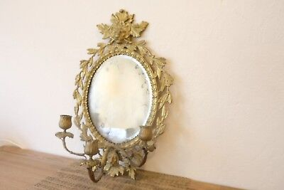 Large Italian Wall Sconce w/ Mirror (17''x11''), Three Candlestick Holders