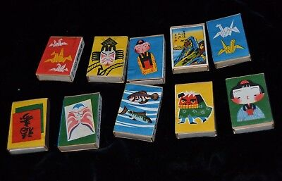 Vtg Matchbox Lot of 10 Japanese Matches Label WARRIER ORIGAMI DOLL FISH TEXT NOS