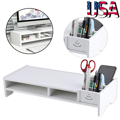 Computer Monitor Riser Desk Table LED TV Stand Shelf Desktop Laptop Home Office