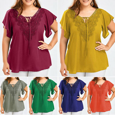 Womens Summer Loose T-Shirt Plus Size Short Sleeve Lace Tops Blouse Casual Shirt