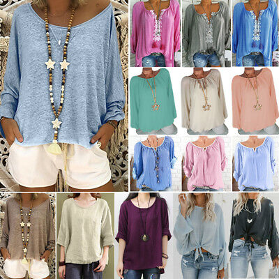Plus Size Womens Casual O Neck Plain T-shirt Ladies Loose Long Sleeve Top Blouse