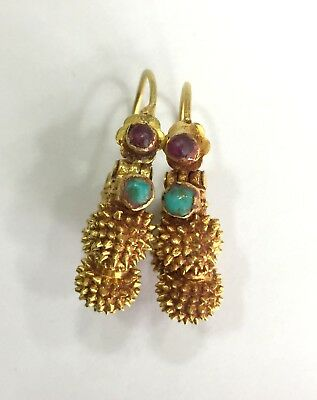 Vintage antique Handmade solid 20K Gold jewelry Earring pair