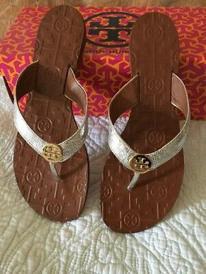 6b20245e1ba TORY BURCH THORA Flip Flop Thong Sandals Silver Leather Gold Size 9 New