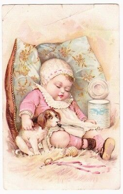 New York NY Condensed Milk -- Sleeping Baby Girl and her Dog