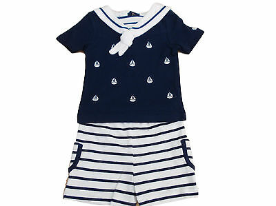 BNWT Baby Boys navy and white sailing ship 2 Piece Sailor top & shorts suit