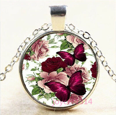 Flower Butterfly Cabochon Silver/Bronze/Black/Gold Chain Pendant Necklace #7390
