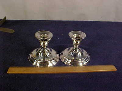 Nice Pair of 3 1/4 inch tall Sterling Silver Watrous Candle Stick Holders