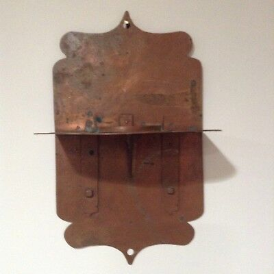 "Large 15"" Vintage 1920's Arts & Crafts Copper Candle Holder Sconce Hand Hammered"