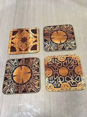hellraiser puzzle box Coaster Set Coenobite Pinhead Drinks Mat Wood Horror Movie