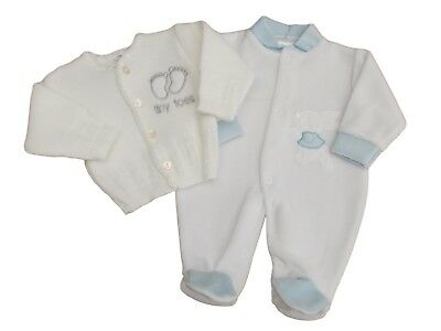 BNWT Tiny baby Premature Preemie little bunny velour sleepsuit & cardigan 5-8 lb
