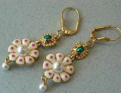 V&A inspired Hand Enamel Flower Faux Pearl Earrings GP
