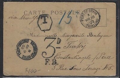 British Levant Offices In Turkey(P1410B) 2903 Incoming Ppc From Trinidad, Stamp