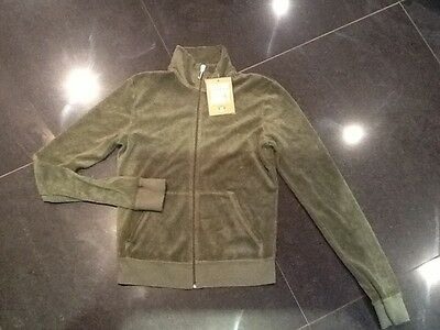 """NWT Juicy Couture New & Gen. Ladies Small Green Towelling Jacket With """"J"""" Pull"""