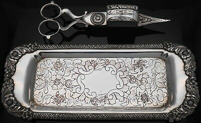 Antique Candle Scissors & Tray - Silver Plated