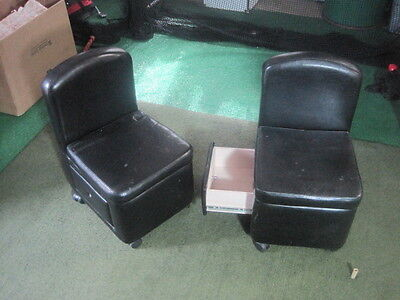Set of 2 Kids Upholstered Camel Back Chairs w Drawer Rollers (GREAT FOR ARTISTS)