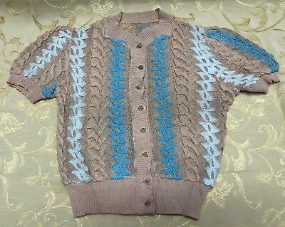 Vintage 50's or 60's Childrens Button Down Sweater Cardigan Peach and Blue