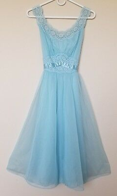 Vintage Vanity Fair Sheer Aqua Nightgown Size 32 Small