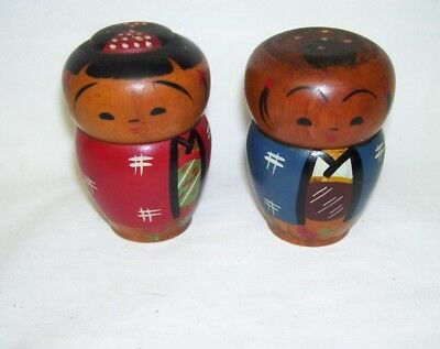 Antique  Man Woman Wooden Asian Salt and Pepper Shakers  Japan