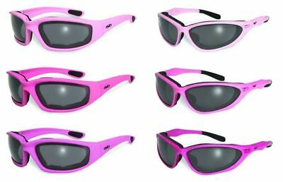 Womens Foam Padded Motorcycle Riding Sun Glasses-PINK CHROME-Flash Mirror Lenses