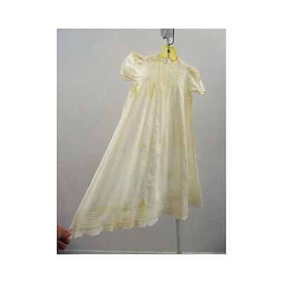 Vintage Christening Gown Dress Victorian Baby Infant Baptism White Cotton Lace