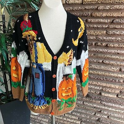 Eagles Eye Vintage Hand Knit Halloween Cotton Cardigan Sweater Pumpkin Buttons