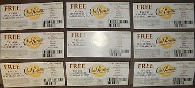 Lot of 9 One Republic Flatbread Coupons $6 Each $54 Max Value Pita Pizza