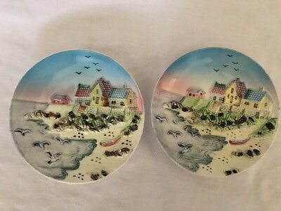 Vintage 2 X 3D Small Wall Hanging Ceramic Plates Seaside
