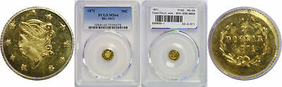 1871 Half Dollar California Fractional Gold PCGS MS-64 BG-1011