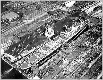 Photo: The SS United States & The USS Enterprise, Newport News, Va, 1964