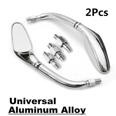 Pair Chrome Motorcycle Side Rearview Mirrors 10mm For Harley/Honda/Yamaha/Suzuki