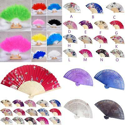 Chinese Feather Flower Folding Handheld Fan Dance Performance Prop Tool Classy