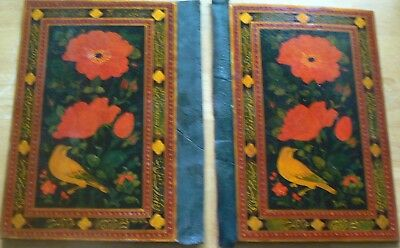 Beautiful Unused Lcquered Binding Covers, Pesian with Floral and Bird Motif