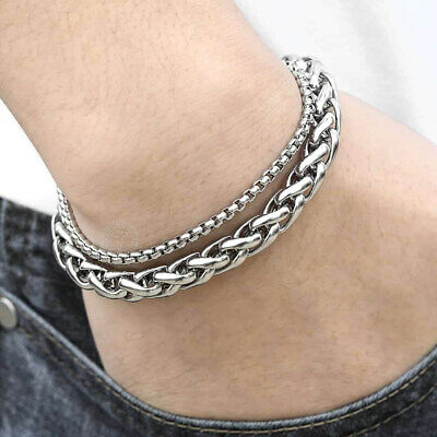 """8mm 8""""-10"""" Mens Wheat Box Link Chain Double Bracelet Silver Stainless Steel"""