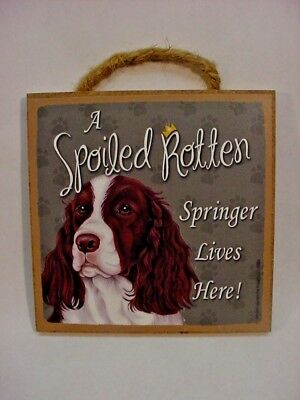 A Spoiled Rotten SPRINGER Dog SIGN Easel Stand Wall wood SPANIEL PLAQUE USA MADE