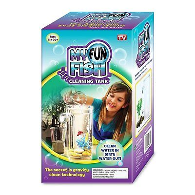 As seen on TV My Fun Fish cleaning tank small aquarium cleans itself new