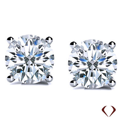 2.00 CT H SI1 Round Cut Diamond Stud Earrings 14K White Gold