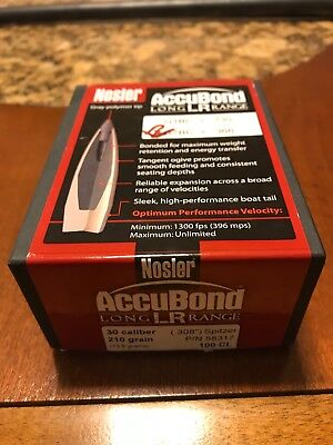 NOSLER ACCU-BOND 30 caliber reloading bullets  Long range
