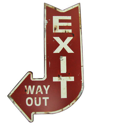 Large Red EXIT WAY OUT Metal Arrow Sign Pub/Bar/Home Theater/Man Cave Wall Decor