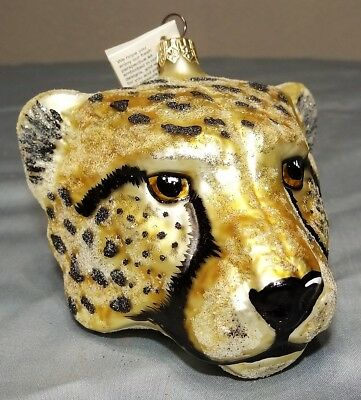 Slavic Treasures Cheetah Leopard Big Spotted Cat Glass Christmas Ornament w Tag