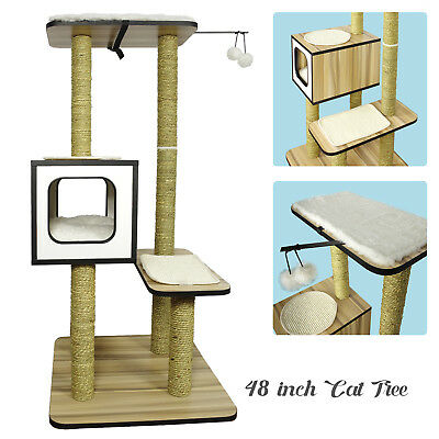 HARDWOOD Cat Tree Tower Condo Furniture Scratching Post Pet Kitty Play House NEW