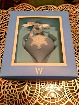 "Wedgwood Blue Jasperware Teardrop Christmas Snowflake Ornament 3 1/2"", With Box"