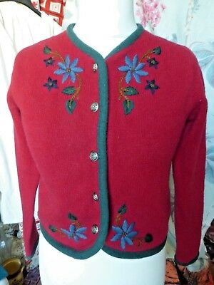 LAURA ASHLEY Vintage 80's Hand Embroidered Red Wool Cardigan Small