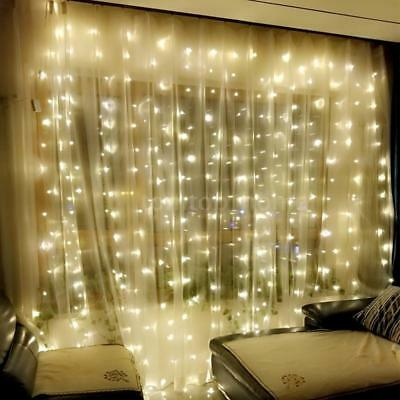 Window Curtain Icicle Lights String Fairy 300LED Wedding Party Home Garden Z4N6