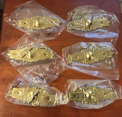 Brass Victorian Eastlake Style Cabinet Handle Set of 6