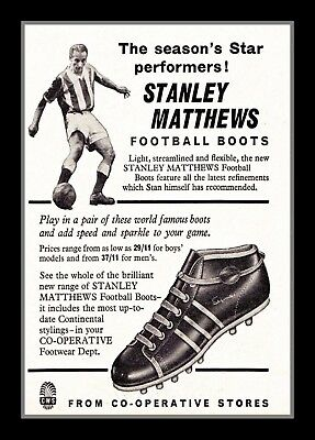 Photograph/7 x 5/Photo/1950's/Football Boots Advert/Stanley Matthews/Stoke/CO-OP