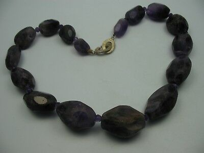 Very Beautiful Large Heavy Necklace from Amethyst Semi-Precious Stones
