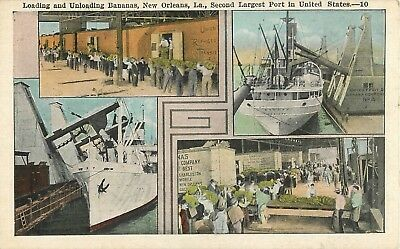 c1920 Loading and Unloading Bananas, New Orleans, Louisiana Postcard