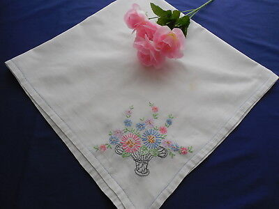 Vintage White Cotton Tablecloth w/ Embroidered Flower Baskets