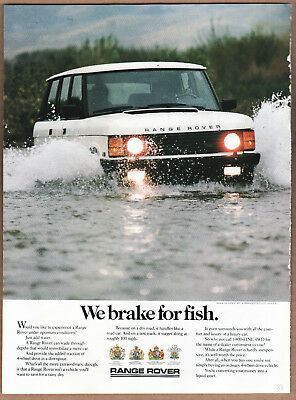 "1988 Range Rover Ad ""We brake for fish."" Print Ad"